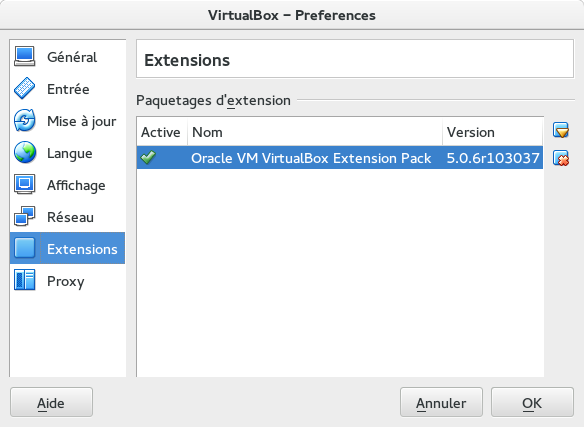 Virtual Box - Extension installée