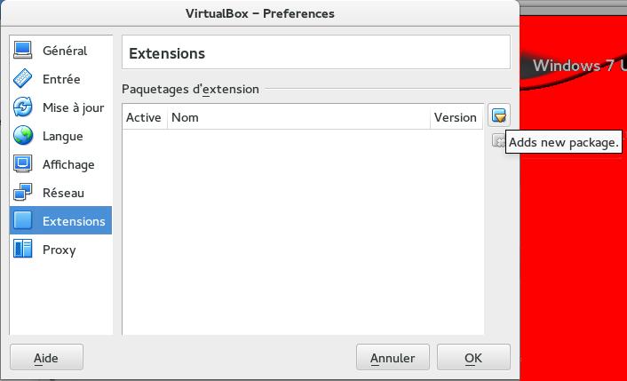 VirtualBox - Zoom sur le bouton ajouter dans les extensions