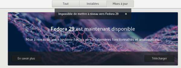 Impossible de mettre à niveau vers Fedora 29