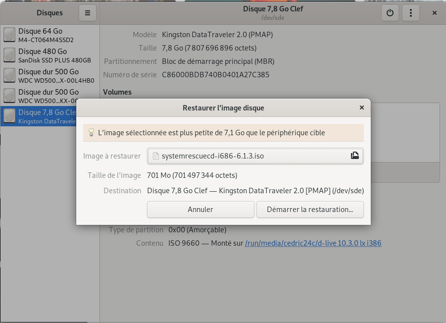 Gnome Disk restaure une image disque System Rescue CD 6.1.3